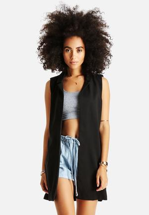 AX Paris Plain Sleeveless Jacket Black