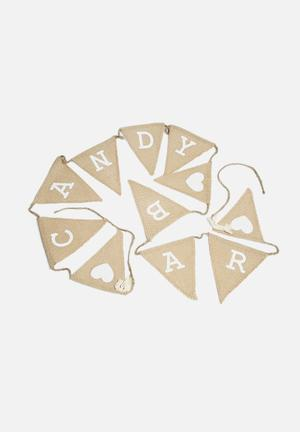 Ginger Ray Vintage Candy Bar Hessian Bunting Partyware Hessian