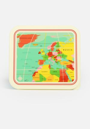 Heart And Home Vintage World Map Lunch Box Kitchen Accessories Multi-Colour