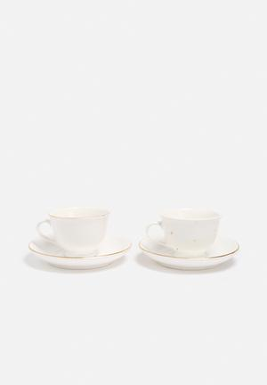 Urchin Art Teacup & Saucer Set Of 2 Drinkware & Mugs White With Gold Accents