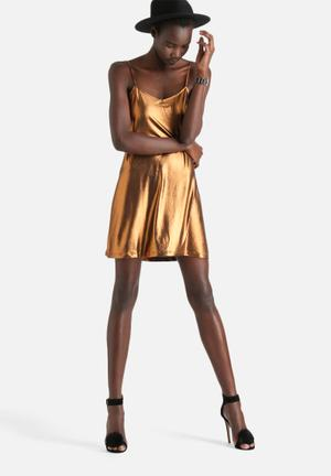 Tiffany Metalic Shine Slip Dress
