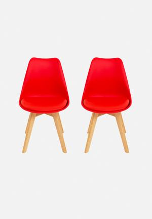 Eleven Past Set Of 2 Levi Chairs Red