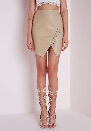 Missguided Lace Up Faux Leather Mini Skirt Beige