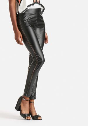 WYLDR Runner PU Leather Lace Up Leggings Trousers Black