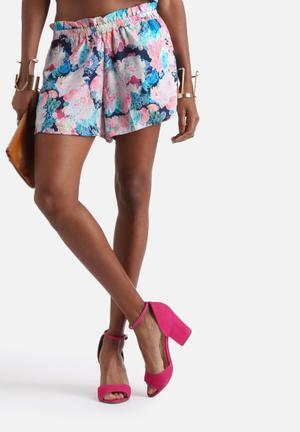 Neon Rose Acid Floral Pull On Shorts Multi