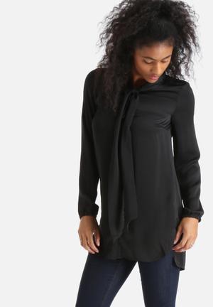 Vero Moda Britta Bow Long Blouse Black