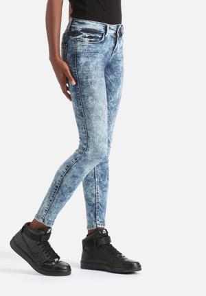 Jacqueline De Yong Low Ally Ankle Jeans Blue Acid Wash