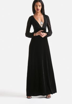 Motel 70's Femme Romantic Flocking Lace Maxi Dress Occasion Black
