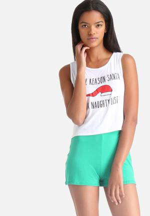 Adolescent Clothing Naughty List Sleepwear Green & White