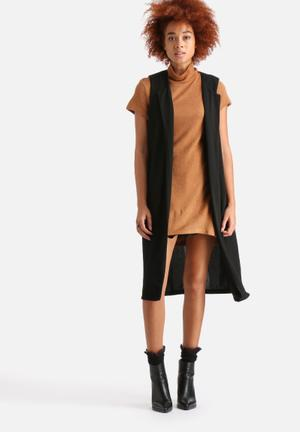 AX Paris Longline Sleeveless Jacket Black