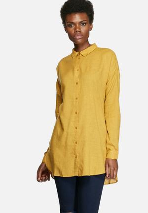 VILA Liza Long Shirt Yellow