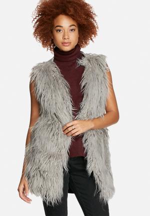 VILA Funny Sleeveless Faux Fur Knit Knitwear Light Grey