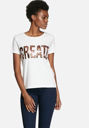VILA Create Sequin Tee T-Shirts, Vests & Camis White
