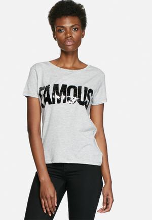 VILA Create Sequin Tee T-Shirts, Vests & Camis Grey