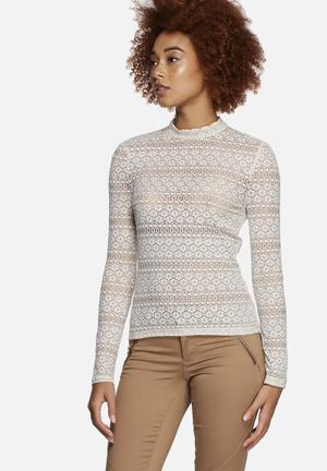 Vero Moda Lorelai Lace Funnel Top Blouses Cream