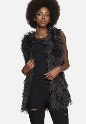 Noisy May Yogi Faux Fur Sleeveless Jacket Charcoal