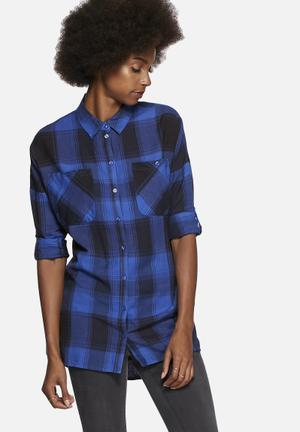 Noisy May Erik Oversize Shirt Blue & Black