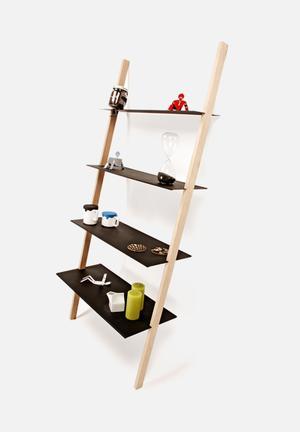 Emerging Creatives Alf Shelf Powder Coated Mild Steel Shelves, Solid Wood Frame