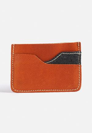 Jack & Jones Footwear And Accessories Denim Leather Card Holder Bags & Wallets Mocha Bisque