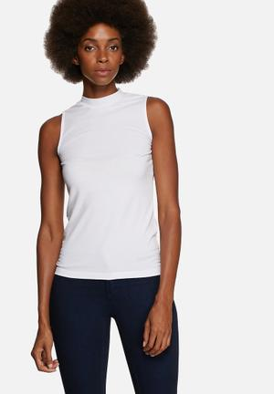 Pieces Mila New Low Turtleneck Top T-Shirts, Vests & Camis White