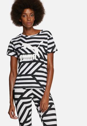 PUMA Jailbird Tee T-Shirts, Vests & Camis Black & White