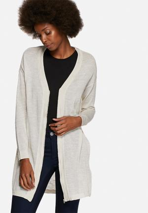Noisy May Pilou Long Cardigan Knitwear Oatmeal