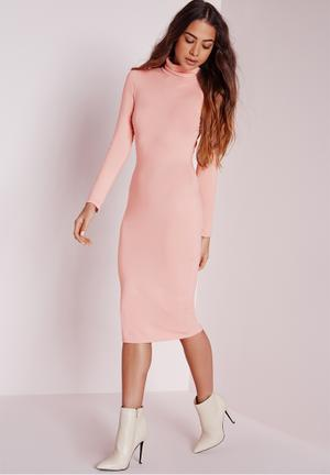 Missguided Long Sleeve Roll Neck Jersey Midi Dress Casual Nude