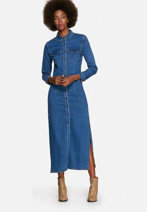 Glamorous Long Denim Button Dress Casual Blue