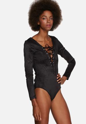Glamorous Faux Suede Bodysuit Blouses Black