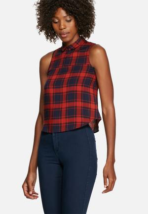 Glamorous Check Sleeveless Top Shirts Red & Navy