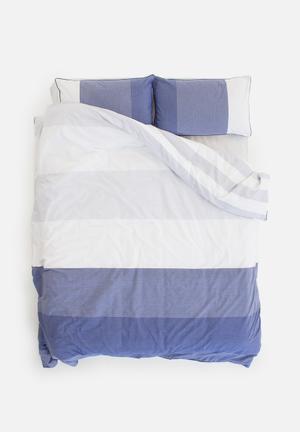 Linen House Dax Navy Bedding 100% Cotton