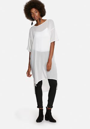 Glamorous Sheer Tunic Top Blouses White