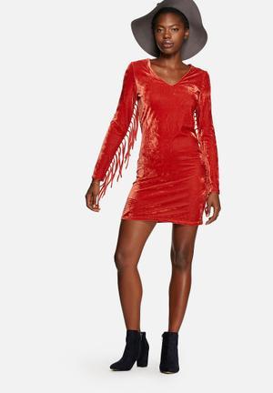 Glamorous Velvet Dress Casual Rust