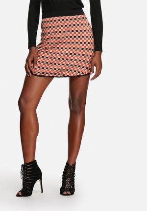 Glamorous Grid Knit Skirt Rust