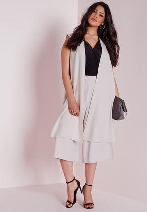 Missguided Plus Size Longline Waistcoat With Splits Jackets Grey