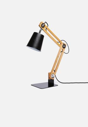 Nolden Bros City Table Lamp Lighting Mild Steel & Wood