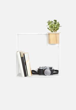 Umbra Cubist Shelf Large Beech Wood, Plastic Liner & Powder Coated Metal