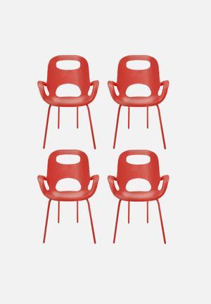Umbra Oh Chair Set Of 4 Polypropylene W/ Steel Legs