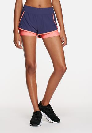 The North Face Dynamix Stretch Short Bottoms Patriot Blue / Neon Peach Heather