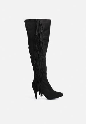 Glamorous Western Heeled Boot Black