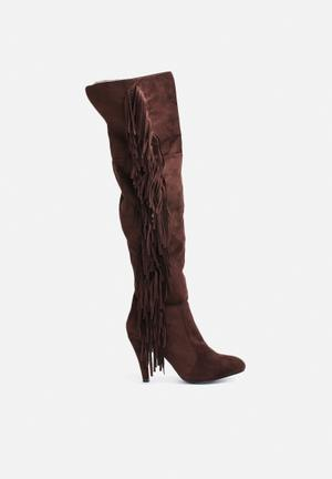 Glamorous Western Heeled Boot Brown