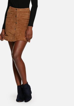 ONLY Geneva Suede Skirt Camel