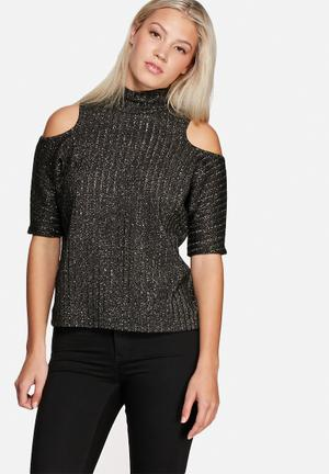 Vero Moda Loura Cold Shoulder Top Blouses Black With Gold Lurex