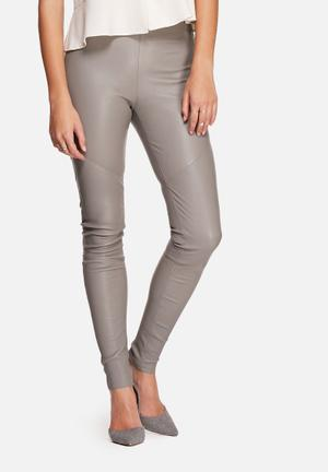 Y.A.S Zeba Stretch Leather Pants Trousers Brushed Nickel