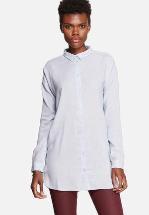 VILA Liza Long Shirt Cashmere Blue