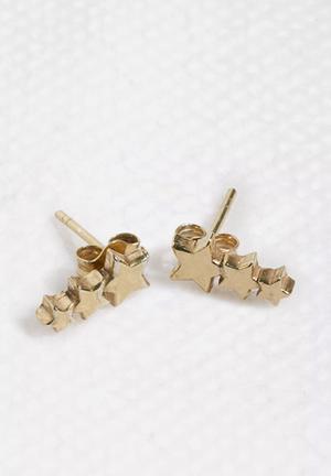 Bennt Three Star Earring Jewellery Gold