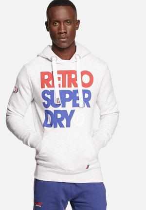 Superdry. Retro Superdry Hoody Snow Grey Marl
