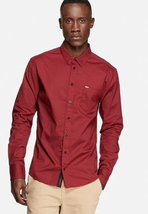 GUESS Leighton Print Shirt Red Laquer