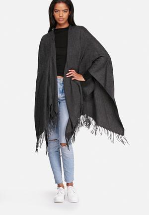 ONLY Aya Weaved Cape Scarves Dark Grey Melange