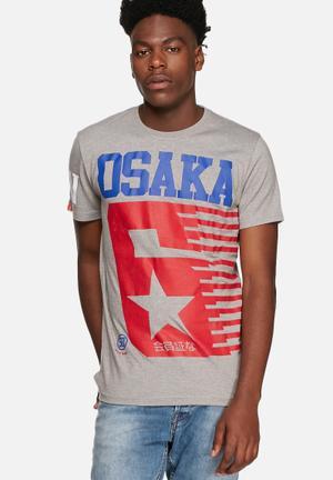 Superdry. Osaka Shooting Star Entry Tee T-Shirts & Vests Grey Marl Jaspe